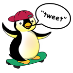 Happy Feet penguin with a speech bubble